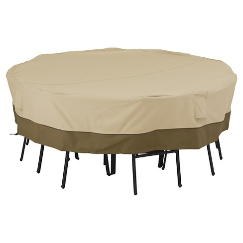 Veranda Large Square Patio Table And 8 Chairs Cover - Light Pebble - Classic Accessories - image 1 of 6