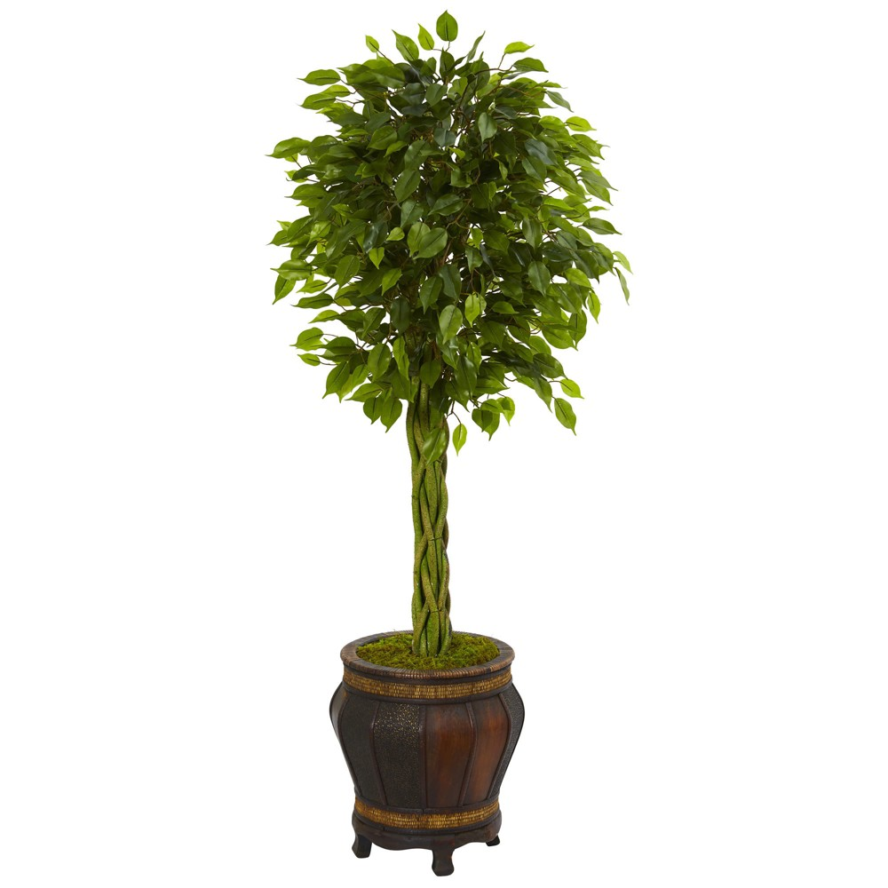 4.5ft Braided Ficus Artificial Tree In Planter - Nearly Natural, Green