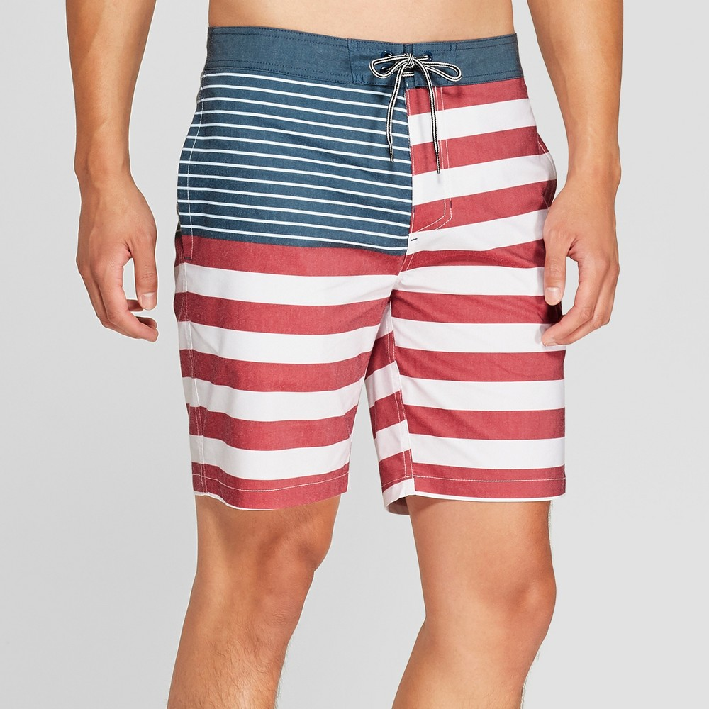Men's Striped 8.5 Snare Board Shorts - Goodfellow & Co Red 32