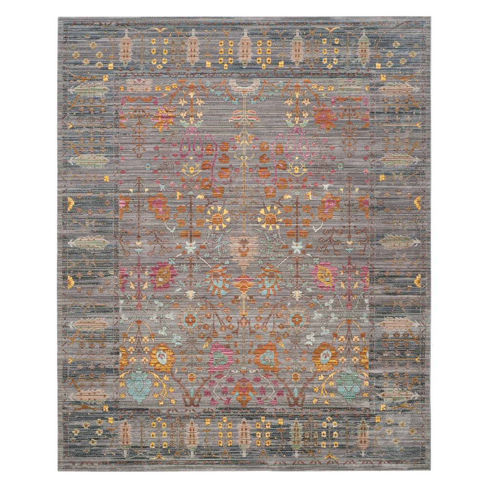 Floral Loomed Area Rug Blue