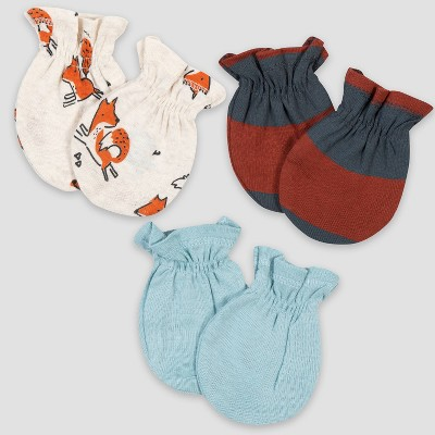 Gerber Baby Boys' 3pk Fox Mittens - Orange