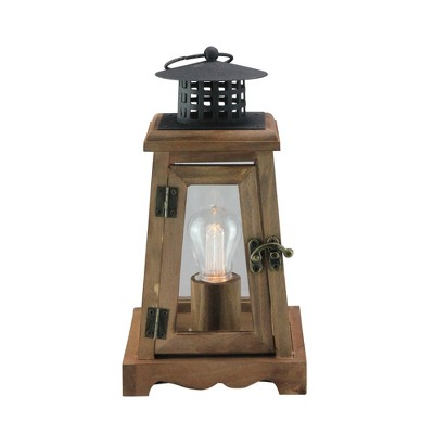 "Northlight 10"" Brown and Black LED Lighted Trapezoid Hanging Indoor Lantern"