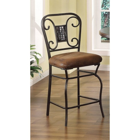 Set of 2 Antique Metal Finish Counter Height Chairs Bronze - Benzara - image 1 of 1