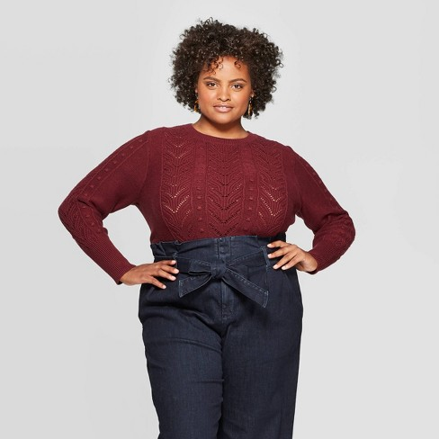 Women's Plus Size Long Sleeve Crewneck Pullover Sweater - A New Day™ - image 1 of 3