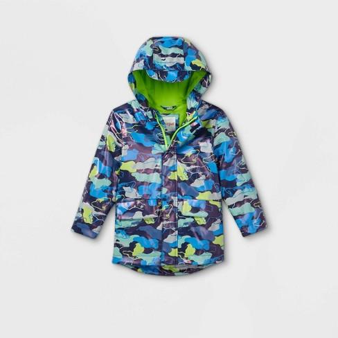 Toddler Boys' Camo Rain Jacket - Cat & Jack™ Blue - image 1 of 2