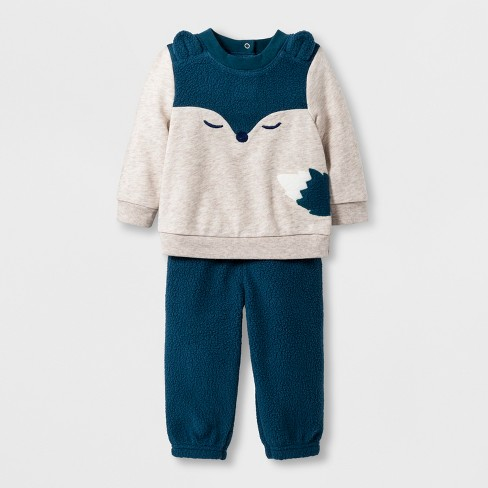 Baby Boys' 2pc Critter Sweatshirt and Jogger Set - Cat & Jack™ Cream/Blue 3-6M - image 1 of 2