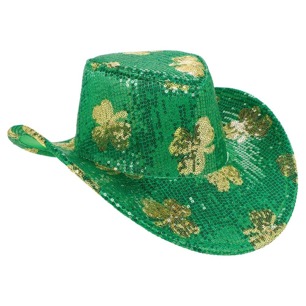 St. Patrick's Day Sequin Adult Cowboy Hat, Adult Unisex, Green