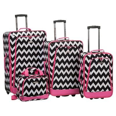 Rockland Escape 4pc Luggage Set - Pink