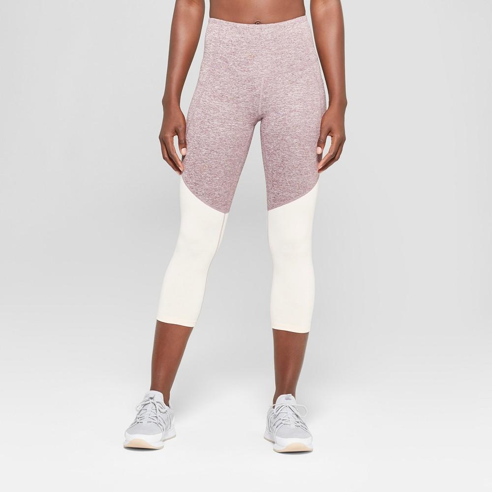 Women's Freedom High-Waisted Colorblocked Capri Leggings - C9 Champion Purple M, Purple Thistle Heather