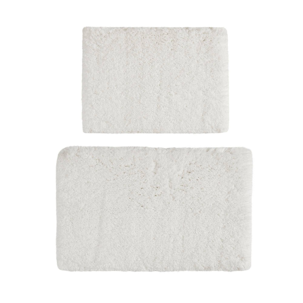 "Image of ""17""""x24"""" 2pc Juno Tufted Solid Bath Rug Set White"""