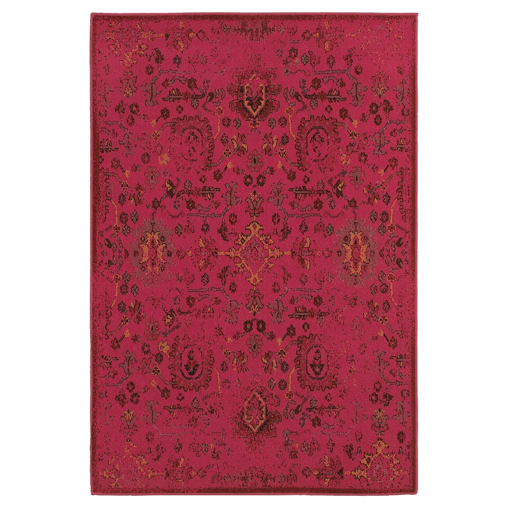 4'X6' Ombre Design Area Rug Red