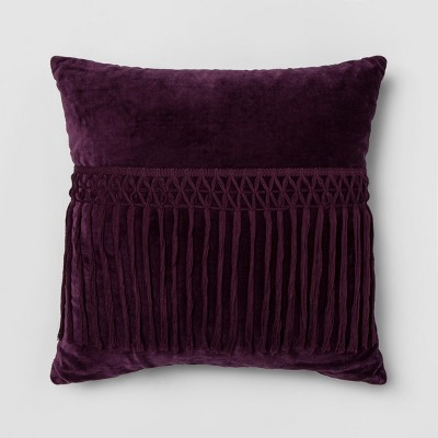Velvet Fringed Square Throw Pillow Purple - Opalhouse™