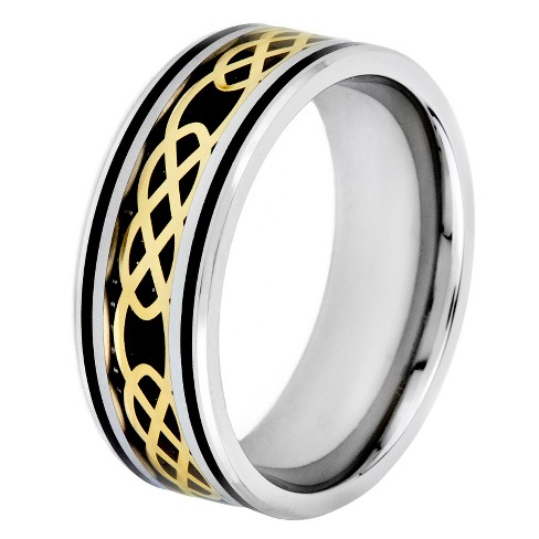 Crucible Men's Goldplated Steel Carbon Fiber and Celtic Knot Band - Black - image 1 of 3
