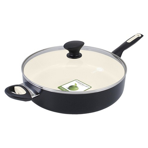 GreenPan Rio 5qt Ceramic Non-Stick Covered Saute Pan with Helper Handle Black - image 1 of 4