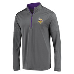 NFL Minnesota Vikings Men's Poly Embossed Gray 1/2 Zip Hoodie