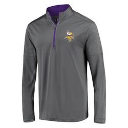 NFL Minnesota Vikings Men's Poly Embossed Gray 1/2 Zip Hoodie