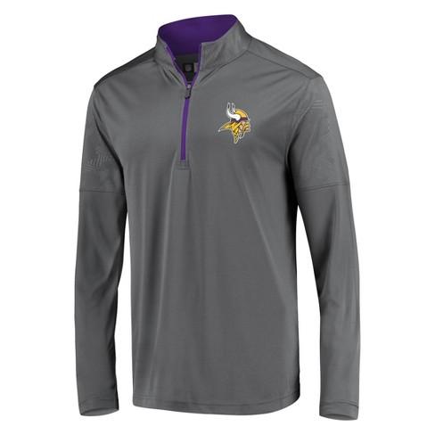 NFL Minnesota Vikings Men's Poly Embossed Gray 1/2 Zip Hoodie - image 1 of 3