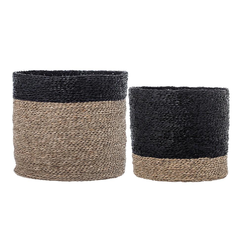 2pc Decorative Natural Seagrass Baskets Brown/Black - 3R Studios