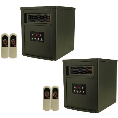 LifeSmart 1500 Watt Portable Electric Infrared Room Space Heater for Indoor Use, Black (2 Pack)