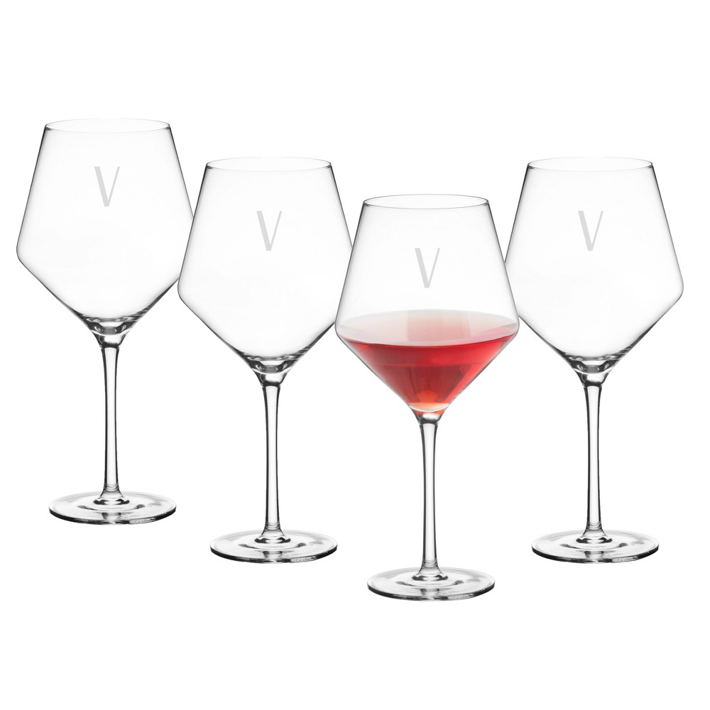 23oz 4pk Monogram Estate Red Wine Glasses V - Cathy's Concepts, Clear