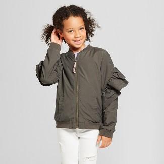 Girls Ruffle Sleeve Bomber Jacket - Cat & Jack™ Olive XS
