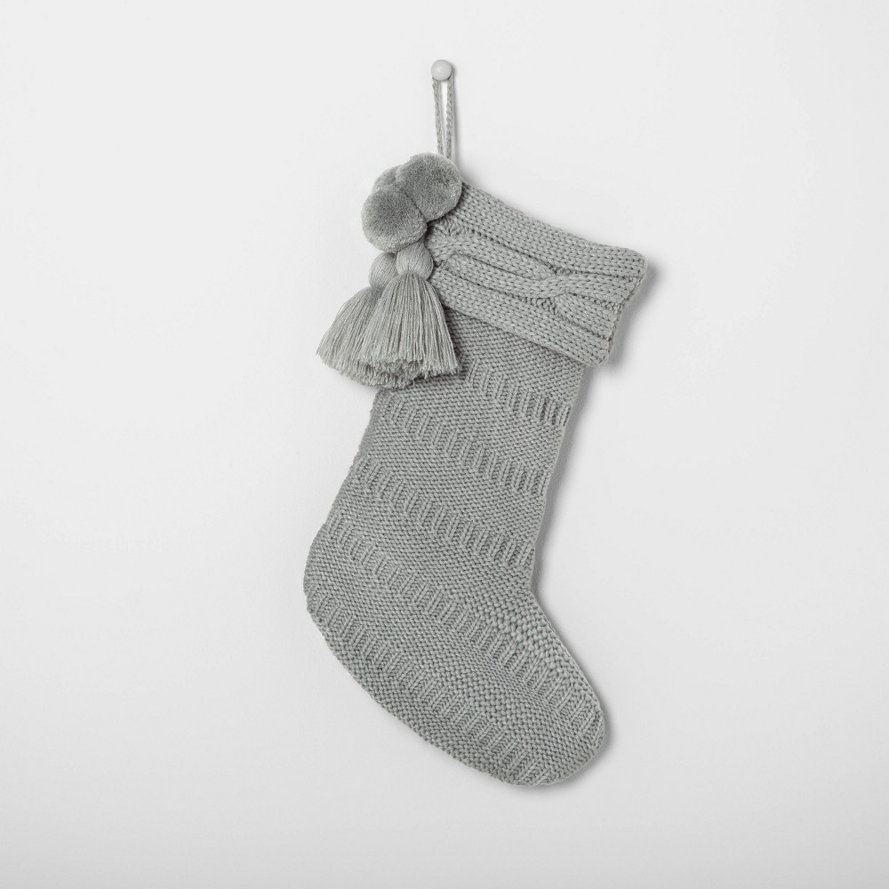 Image of Holiday Knit Stocking Silver Green - Hearth & Hand with Magnolia