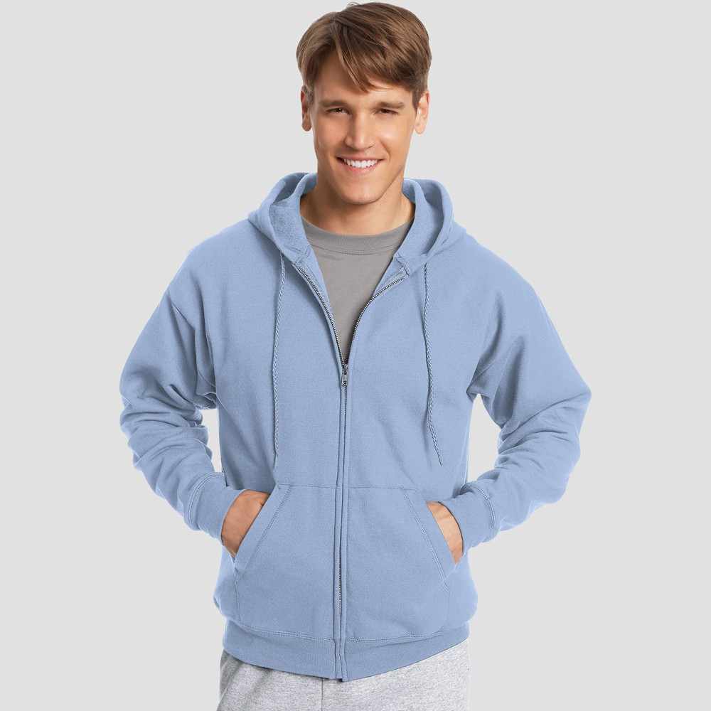 Hanes Men's Big & Tall EcoSmart Fleece Full Zip Hooded Sweatshirt - Light Blue 3XL