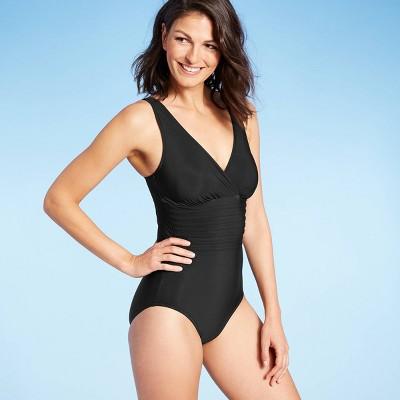 Women's Waist Detail Over the Shoulder One Piece Swimsuit - Aqua Green® Black