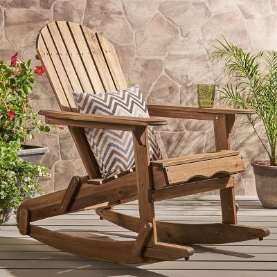 Malibu Acacia Wood Adirondack Rocking Chair - Natural - Christopher Knight Home