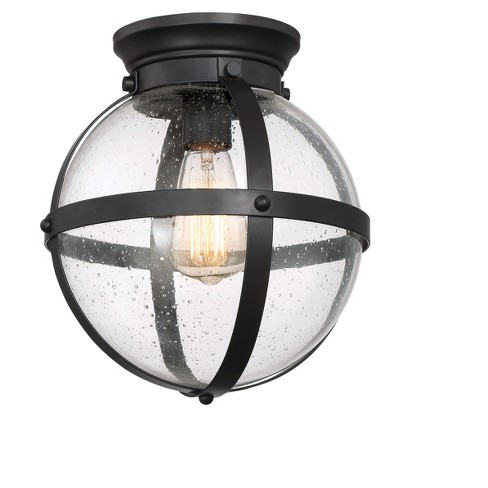 Oil Rubbed Bronze Flush Mount With Clear Seeded Gl Ceiling Lights Z Lite