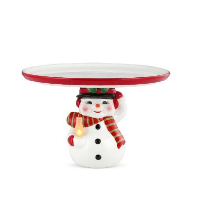 """10"""" Ceramic Snowman Cake Serving Platter - Mr. Christmas"""