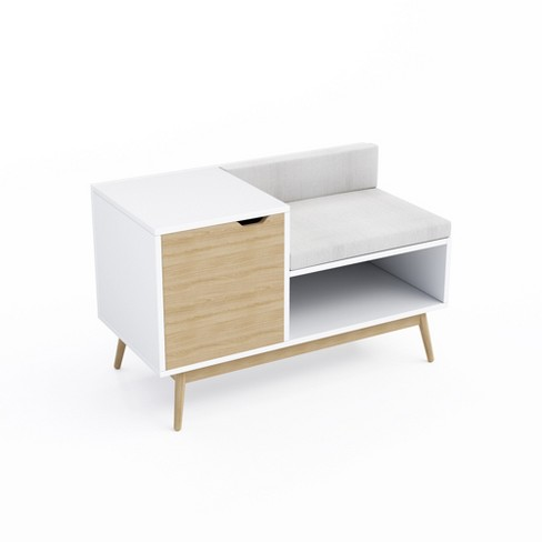 Blythe Sectional Storage Bench White Natural Jamesdar