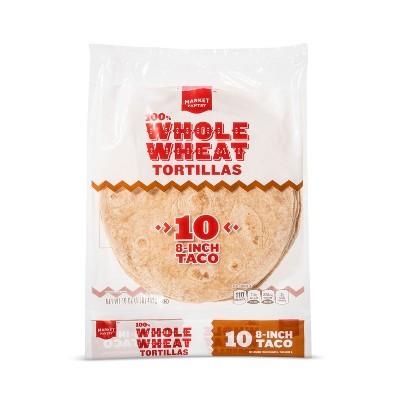 "8"" Taco Size 100% Whole Wheat Tortillas - 15.5oz/10ct - Market Pantry™"