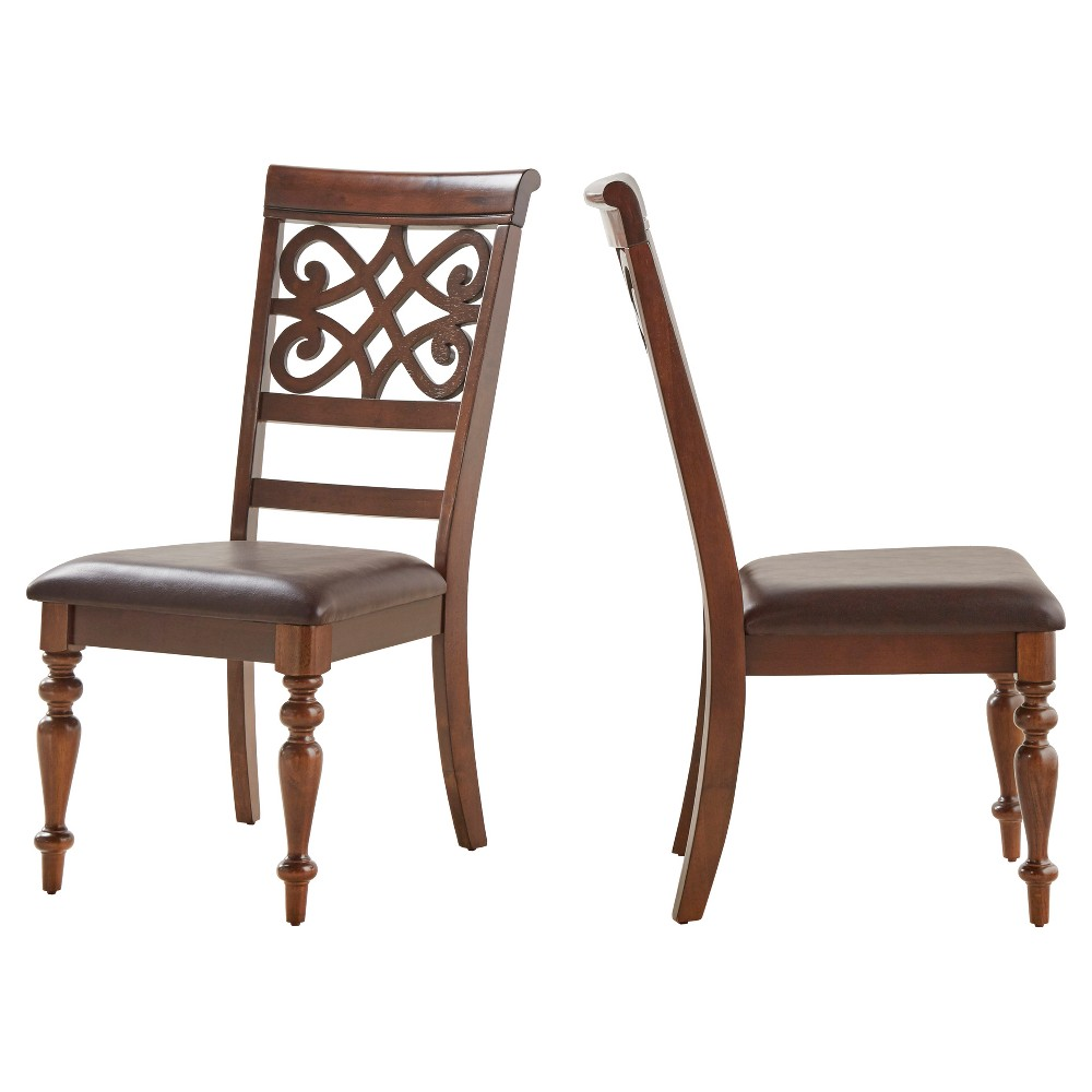 Hatton Hill Scroll Detail Side Dining Chair Wood/Cherry (Red) (Set of 2) - Inspire Q