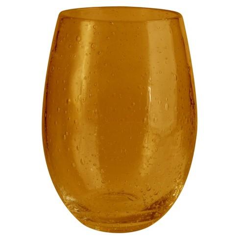 Artland Iris 20oz 4pk Stemless Glass Tumblers Amber - image 1 of 1