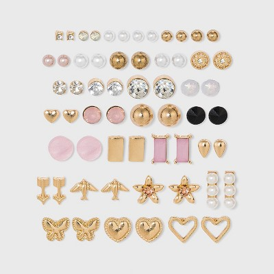 Heart and Flower Multi Stud Earring Set 30pc - Wild Fable™