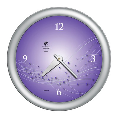 """14"""" x 1.8"""" Vines And Dots Ultraviolet Decorative Wall Clock Silver Frame - By Chicago Lighthouse"""