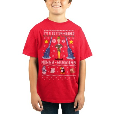 Youth Boys Elf Ugly Christmas Sweater Graphic Tee