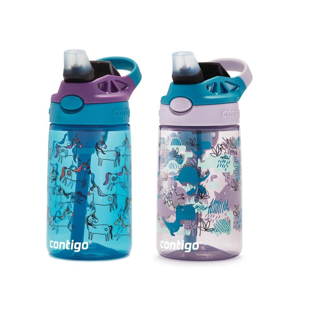 Image of Contigo 14oz 2pk Plastic Kids Autospout Unicorn & Dino Water Bottles
