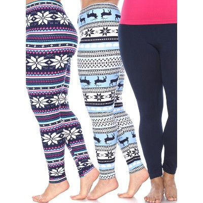 Women's Pack of 3 Plus Size Leggings - One Size Fits Most Plus - White Mark