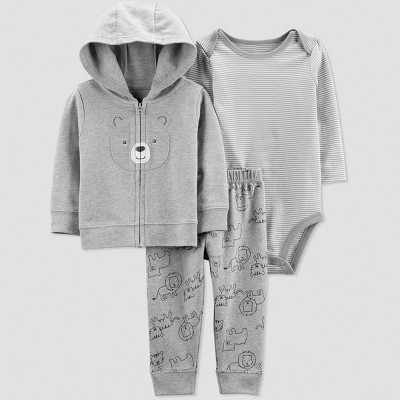 Baby Boys' 3pc  Bear  Long Sleeve Cotton Cardigan Set - Just One You® made by carter's Gray Newborn