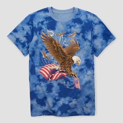 Men's Eagle Tie-Dye Short Sleeve Graphic T-Shirt - Blue