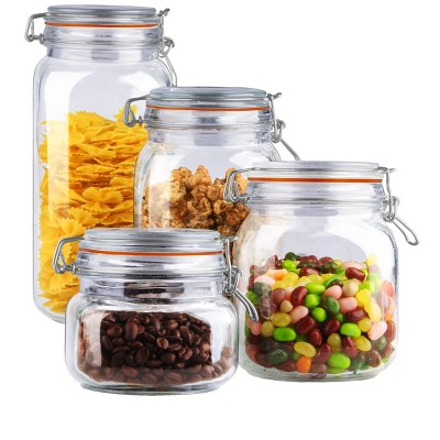 Home Basics 4 Piece Glass Canister Set, Clear
