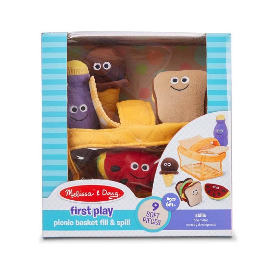 Melissa & Doug Deluxe Picnic Basket Fill and Spill Soft Baby Toy image number null