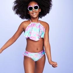 Girls' Tie-Dye Halter Top Bikini Set - More Than Magic™ Aqua