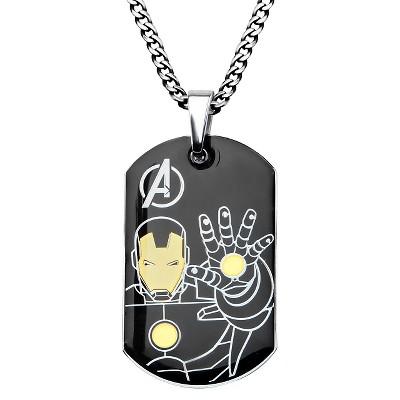 "Men's Marvel Avengers Ironman Stainless Steel Stainless Steel Dog Tag (24"")"