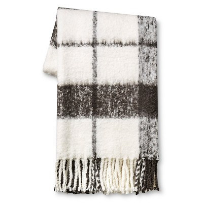 Gray Faux Mohair Plaid Throw Blanket (50 x60 )- Threshold™