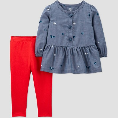Baby Girls' 2pc Chambray Top & Bottom Set - Just One You® made by carter's Blue 6M