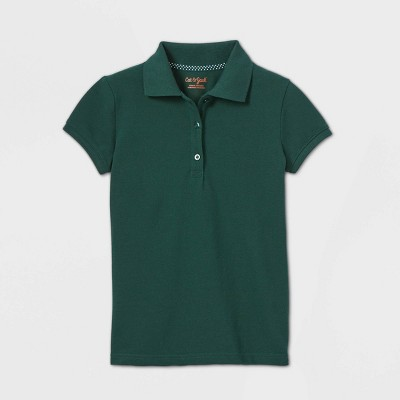 Girls' Short Sleeve Stretch Pique Uniform Polo Shirt - Cat & Jack™ Dark Green
