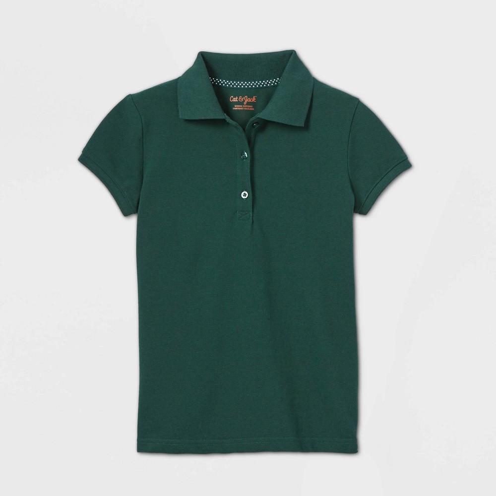 Girls 39 Short Sleeve Stretch Pique Uniform Polo Shirt Cat 38 Jack 8482 Dark Green L